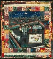 3/3--As in this Faith Ringwold quilt, textile arts produced mainly by women include maps, coded messages, calendars, declarations of faith and doctrine, protest and resistance banners, asa well as socially constructed utilitarian objects and object of art.