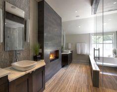 Contemporary Master Bathroom with Master bathroom, stone tile floors, can lights, Flat panel cabinets, full backsplash, Flush
