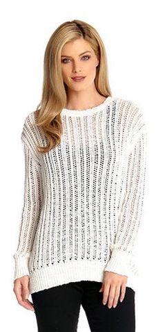 WHITE TAPE YARN SWEATER #Karen_Kane #White #Tape #Yarn #Sweater #Spring_2015 #Made_in_the_USA #Spring #Fashion