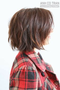 Cute short shaggy bob - to style: comb after conditioner in shower, when you get out of the shower towel dry scrunch hair up with a curl enhancing serum & leave it Alone to dry
