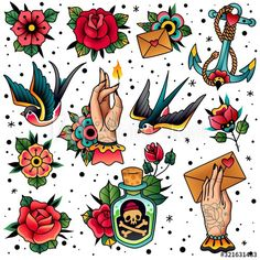 Traditional Tattoo Mom, Traditional Tattoo Flash, Traditional Tattoo Flowers, Mary Tattoo, Tattoo Set, Big Tattoo, American Classic Tattoo, American Traditional Rose, Old School Rose