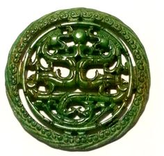 Oriental Chinese Jade Amulet Two Dragon Bi by JewelersLover888, £39.00