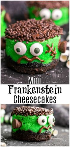Frankenstein Mini Cheesecakes are an easy Halloween dessert for parties. Kids and adults will love these cute little cheesecake cupcakes that look like Frankenstein! Creamy cheesecake, OREO crust, and chocolate decorations make this easy cheesecake one of Halloween Snacks, Halloween Fingerfood, Creepy Halloween Food, Fete Halloween, Halloween Deserts Easy, Halloween Potluck Ideas, Halloween Food For Adults, Halloween Decorations, Creepy Food