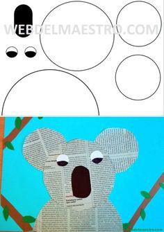 Newspaper Crafts, Paper Crafts For Kids, Preschool Worksheets, Preschool Activities, Drawing For Kids, Art For Kids, Construction Paper Crafts, Australian Animals, Cute Crafts