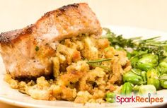 Slow Cooker Pork Chops with Fruity Stuffing Recipe 1 package (6 ounces) herb stuffing mix 2 celery stalks, chopped (1 cup) 1 medium apple, chopped (1 cup) 1 large onion, chopped (1 cup) 1/2 cup dried cherries 1 cup fat-free chicken broth  3 boneless pork chops, about 1/2 inch thick, cut in half