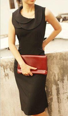 Women's fashion | Ruffling collar on little black dress.