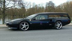 Ferrari Hearse? If I couldn't afford one while I was alive, there's no way I'm able to rent one for a one way trip!