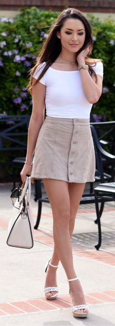 A Line skirts + complimentary on everyone + khaki coloured one + Jessica R + simplistic off-the-shoulder top + cute wedges + ultimate minimalistic summer look. Top/Skirt/Wedges: Express... | Style Inspiration
