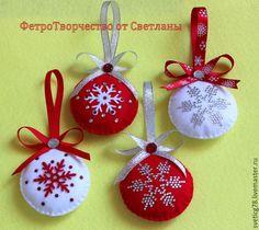Купить Елочные шары из фетра . - ярко-красный, елочные игрушки, елочные украшения, новый год 2016