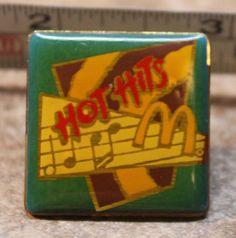 McDonalds Hot Hits Music Employee Collectible Pinback Pin Button #McDonalds