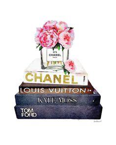 Chanel aquarel bloem Peony art print roze Coco door hellomrmoon