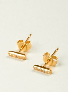 Diamond and 18 carat gold ear studs | Jewels | Pinterest