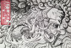 Kraken and ship in storm. Ink on A4 by Petrie Butler