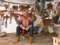 Sami elder dressed in ceremonial costume - Kautokeino region