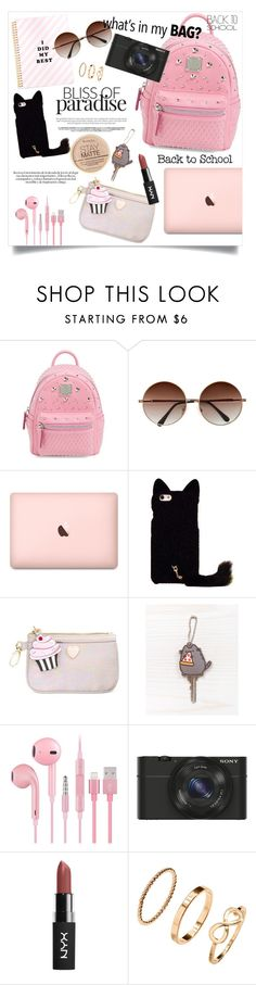 """love my backpack"" by gold-candle23 ❤ liked on Polyvore featuring MCM, Betsey Johnson, Pusheen, Sony, H&M, Rimmel, backpack and inmybackpack"