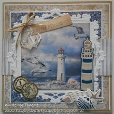 Use the idea of this in a shadow box of a naturesk vacation. more space between layers add in leaves or rocks or items you brought home and photo from the trip as the background. Birthday Cards For Men, Handmade Birthday Cards, Card Tags, I Card, Marianne Design Cards, Album Scrapbook, Karten Diy, Nautical Cards, Beach Cards