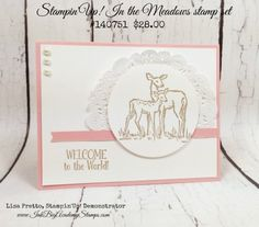Stampin'Up! Into the Woods stamp set, occasions Catalog, welcome baby card, deer, pink, Lisa Pretto InkBig Academy Stamps