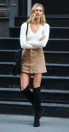 Suede Skirt + Boot