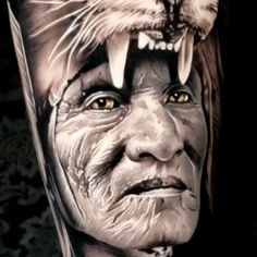 Indian in Lion Headdress - Black & Grey Realism Arm Tattoo tattoo grey tattoo giants You a - Native Tattoos, 3d Tattoos, Badass Tattoos, Tattoo Drawings, Body Art Tattoos, Incredible Tattoos, Beautiful Tattoos, Tattoo Sleeve Designs, Sleeve Tattoos