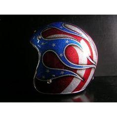 American Flag Custom Made Metalflake Vintage Buco Style Full Skull Helmet