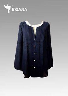 hermosa #blusa en #azul marino  y #botones #dorados
