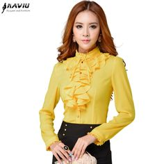 Moda collar del soporte de manga larga amarilla femenina camisa oficina OL Formal elegante volantes de gasa blusa de las mujeres más el tamaño del arco tops