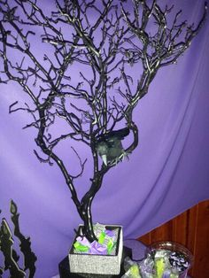 Table Decor With Crow On Tree Branch & Candies Inside