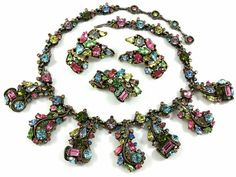Vintage 1950's Hollycraft Necklace Pin and Earrings by Objeks