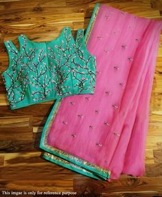 RE - Pleasing Pink Georgette Embroidered saree with un-stitch blouse - Party Wear Sarees - Sarees - Indian Saree Gown, Chiffon Saree, Georgette Sarees, Blouse Patterns, Saree Blouse Designs, Sari Blouse, Dress Designs, Blouse Styles, Sewing Patterns
