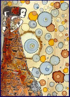 Alcohol ink - Egyptian. Marina's art dolls