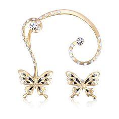 New Gold Plated Rhinestone Butterfly Ear Clip Stud Earrings Jewelry Cuff Earrings, Rhinestone Earrings, Clip On Earrings, Earrings Online, Uganda, Ear Cuffs Online, Jewelry Sets, Women Jewelry, Color Style
