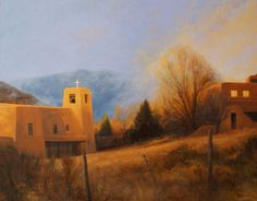 """SOLD-""""Adobe Winter (22x28) by  Dix Baines captures Cristo Rey in Santa Fe as a storm descends."""