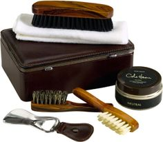 COLE HAAN SHOE CARE KIT  Famous shoemaker Cole Haan offers a complete kit to preserve or add to the life of your favorite shoes. The Shoe Care Kit comes with everything you need to care for your kicks, including a shoe horn, shoe cream, several brushes and a cleaning cloth, all packed in a stylish case. $100