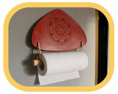 Paper Towel Holder – Kitchen Décor – Home Décor – Hand tooled Leather – Wood details – Handcrafted Kitchen Towels, Kitchen Decor, Paper Towel Holder Kitchen, Kitchen Fabric, Wood Detail, Leather Pieces, Whittling, Mandala Pattern, Leather Tooling