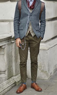 olive pants,  grey sport coat,   light tan cardigan, red scarf, blue socks, brown wingtips