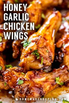 These honey garlic chicken wings are baked in the oven until nice and crispy and then coated in a sticky honey garlic sauce. Easy to adjust the recipe to make the wings mild in flavor or add a little extra kick! Honey Garlic Chicken Wings, Chicken Wing Sauces, Butter Chicken, Honey Wings, Sticky Chicken Wings, Sauce For Chicken Wings, Oven Baked Chicken Wings, Honey Garlic Sauce, Paleo Chicken Wings