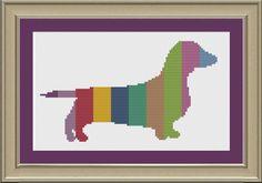 Dachshund with stripes: cute dog cross-stitch pattern by nerdylittlestitcher on Etsy
