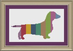Dachshund with stripes cute dog crossstitch by nerdylittlestitcher, $3.00