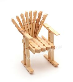 A chair made from clothes pegs.