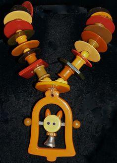 Bakelite Kitten-Bell Crib Toy Necklace