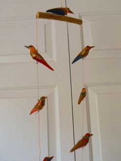 Vintage folk art wooden bird mobile by houuseofwren on Etsy