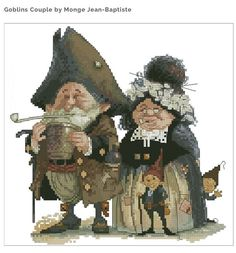 Cross Stitch Chart Goblins Pair Brewers Fantasy Series by Lena Lawson Needlearts - Art of Jean-Baptiste Monge