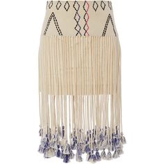 Gypset Silk Kenza Fringed Aztec Print Skirt ($355) ❤ liked on Polyvore featuring skirts, gypset, bohemian skirt, silk skirt, fringe skirt and pink silk skirt