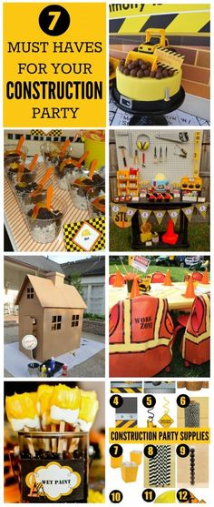 Seven great party ideas for your construction boy birthday party, including party food, birthday cake, party supply, party activity, and party decor ideas!