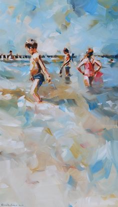Dorus Breckelmans kids playing in the surf