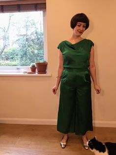 Festive silken faux jumpsuit outfit made with Flint pants and cowl neck top #sewing #diy #1920sfashion  #vintagestyle #diy