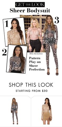 """""""Get the Look: Sheer Bodysuit"""" by windsorstore ❤ liked on Polyvore featuring sheer, bodysuit, jumpsuit, khloekardashian and onepiece"""