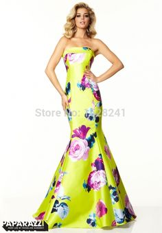 Find More Prom Dresses Information about 2015 New Floral  Printed Satin Prom Dresses mermaid formal party dress elegant strapless sleeveless fashionable prom gown dress,High Quality dresses chicago,China dress cocktail dress Suppliers, Cheap dress floor from True Love Bridal dress Co., Ltd.  on Aliexpress.com