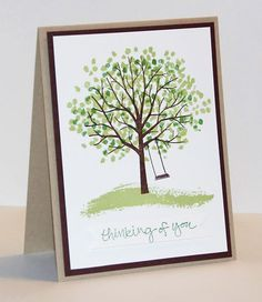 Fantastic New Stampin Up Sheltering Tree Stamp Set created by Jill Cameron Hilliard. I received it as part of a swap, simple but very eye catching.