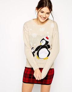 Club L | Club L Penguin Holidays Sweater at ASOS
